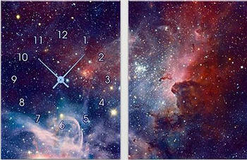 "Модульная картина-часы (60х40 см) ""Космический туман"""