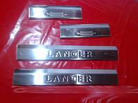 Mitsubishi Lancer X 2008+ гг. Накладки на пороги (Carmos, 4 шт, нерж)