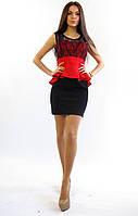 2801 Платье черный с красным