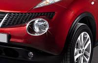 Nissan Juke 2010+ гг. Накладки на передние фонари (2 шт, нерж) 2010-2014, Carmos - Турецкая сталь