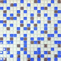 Мозайка микс белый-голубой-платина