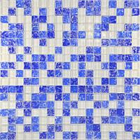 Мозайка микс белый-синий колотый-голубой колотый