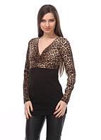 3255 Платье-туника леопард коричневый