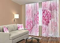 """ФотоШторы """"Розовые пионы"""" 2,5м*2,6м (2 полотна по 1,30м), тесьма"""