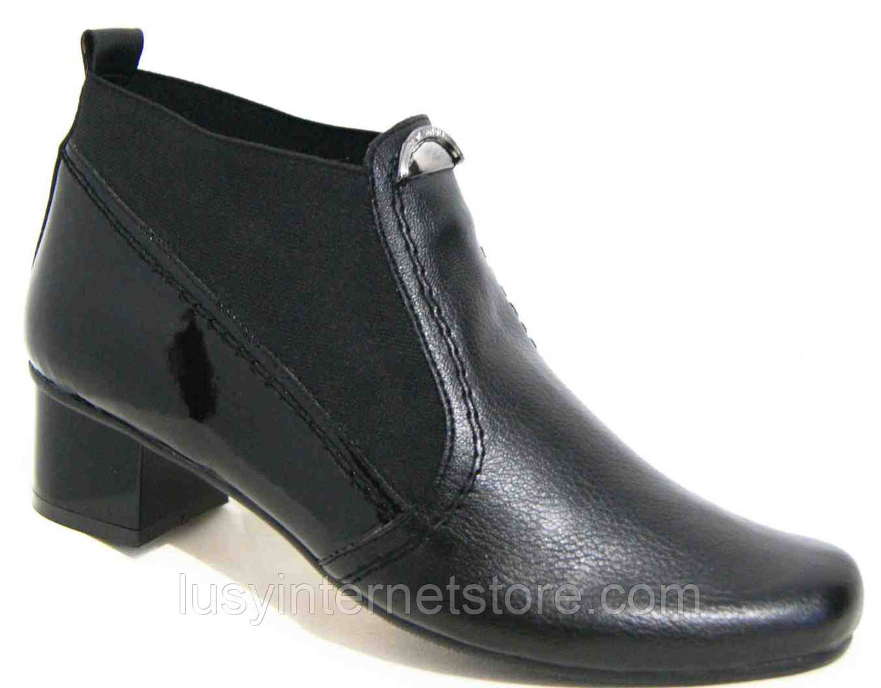 Кожаные ботинки весна на каблуке большого размера от производителя модель МИ5203