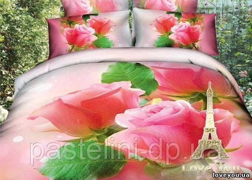 Love you  семейный комплект постельного белья Розочки