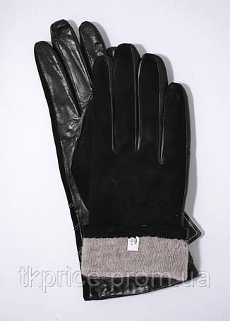 Женские замшевые перчатки с кожаной ладошкой кожа лайка на шерсти, фото 2