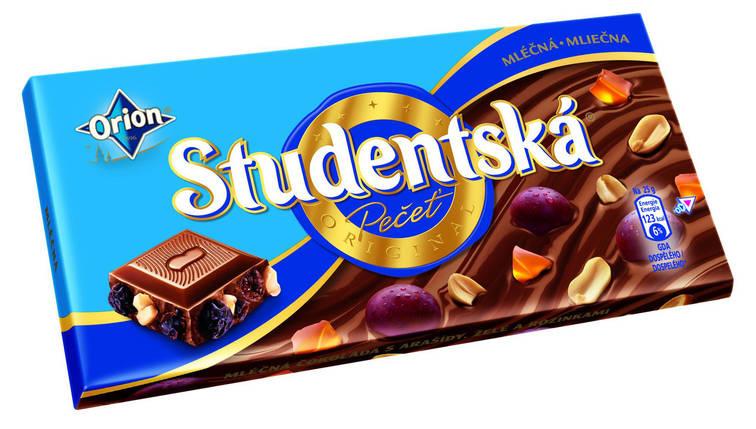 Шоколад молочный Studentska с арахисом и изюмом Чехия 180г, фото 2