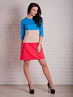 5177 Платье голубой-беж
