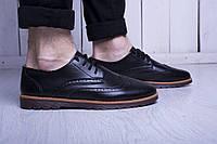 Броги мужские туфли черные классика