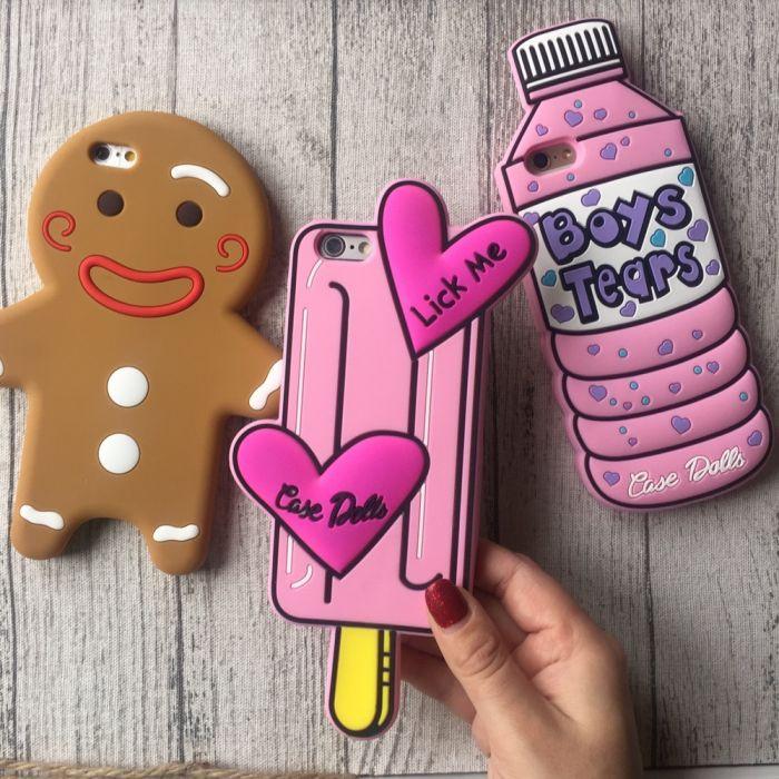 Чехол силиконовый на iPhone 7 / 7+ мороженое, бутылка, человечек