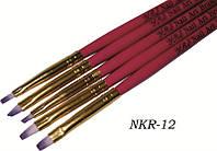Кисти для геля с розовой ручкой 5 шт, набор кистей YRE NKR-12, ногти гелем роспись