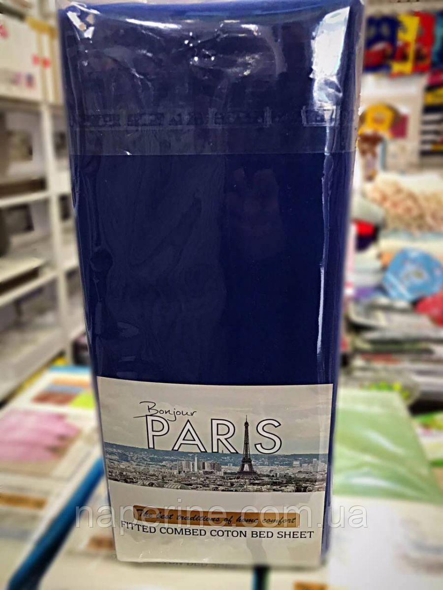 Простынь трикотажная на резинке  Bonjour Paris 180*200(+30), 2 нав. 70*70 см