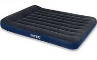Надувной двухместный двухспальный матрас с подголовником intex sport   розмеры 191х137х30см велюровый