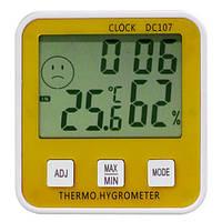 Электронный гигрометр термометр DC-107, часы, LCD дисплей, -10°…+50°С (±1°С), 10%-99% RH (±5%)