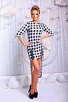 Платье женское  Основа - французский трикотаж. Принт - клетка. Декоративные змейки. 3 цвета апро№ 153-65