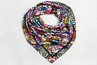 Шелковый платок Кошки, 90х90 см, розовый