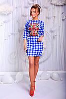 Платье. Французский трикотаж. Принт - клетка. Декоративная пайетка.  3 расцветки ,фото реал апро № 154-66