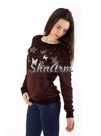 Джемпер 42-46 с длинным рукавом и круглым вырезом купить женский свитер 9872