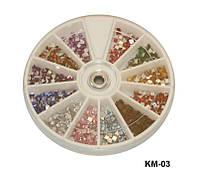 Квадратные стразы в карусельке, большие камни YRE KMK-03, стразы для маникюра