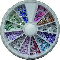 Стразы в карусельке разноцветные маленькие камни YRE KMK-11, стразы для маникюра