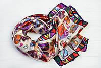 Шелковый шарф Кошки, бежевый