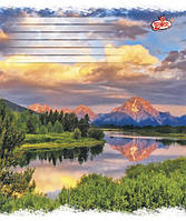 Тетрадь 96 листов линия , Пейзаж на закате, белоснежная бумага Бриск