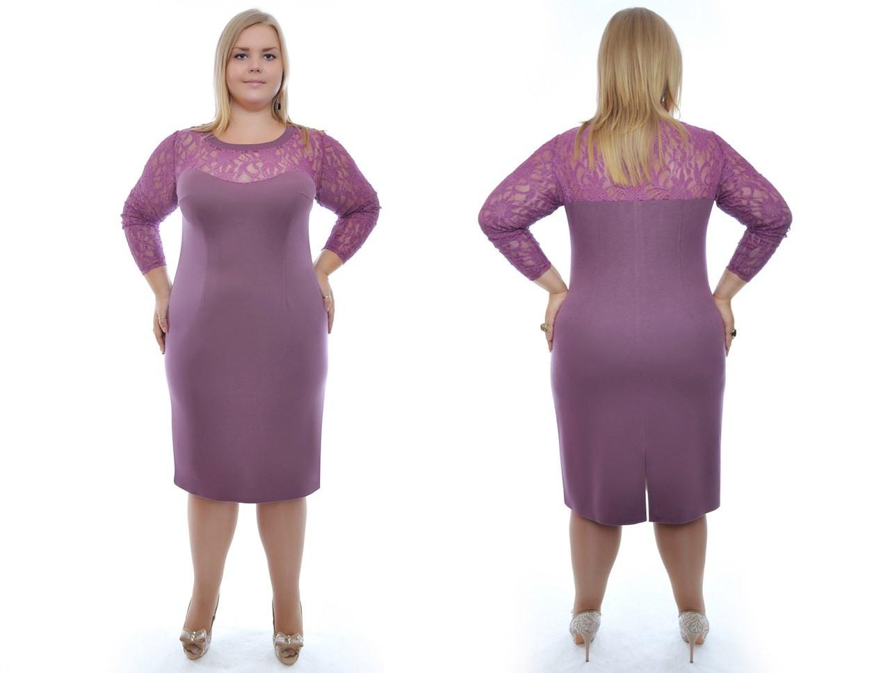 Платье батал гипюр и трикотаж