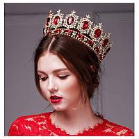 Круглая корона под золото с красными камнями, диадема, тиара, высота 9 см.
