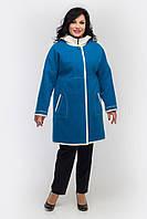 Укороченное пальто Л-556 синее с белой отделкой