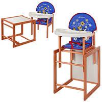 Кресло для кормления + парта трансформер Vivast Кроха из дерева Ольха