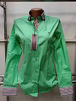 Красивая женская рубашка с длинным рукавом Th 85 зеленого цвета S