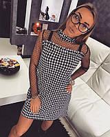 Платье Doratti трапеция мини гусиная лапка декорировано сеткой c велюровой мушкой SMdor1158
