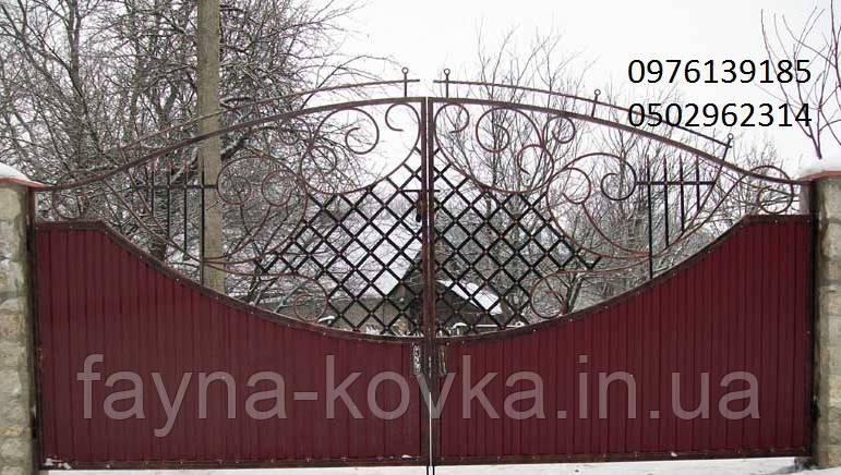 Ворота закрытые профнастилом 1193