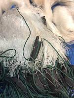 Сеть рыболовная 3м одностенная ячейка 80мм вшитый груз kaida 80 метров