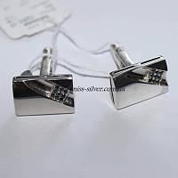 Запонки серебряные с черными фианитами Артур