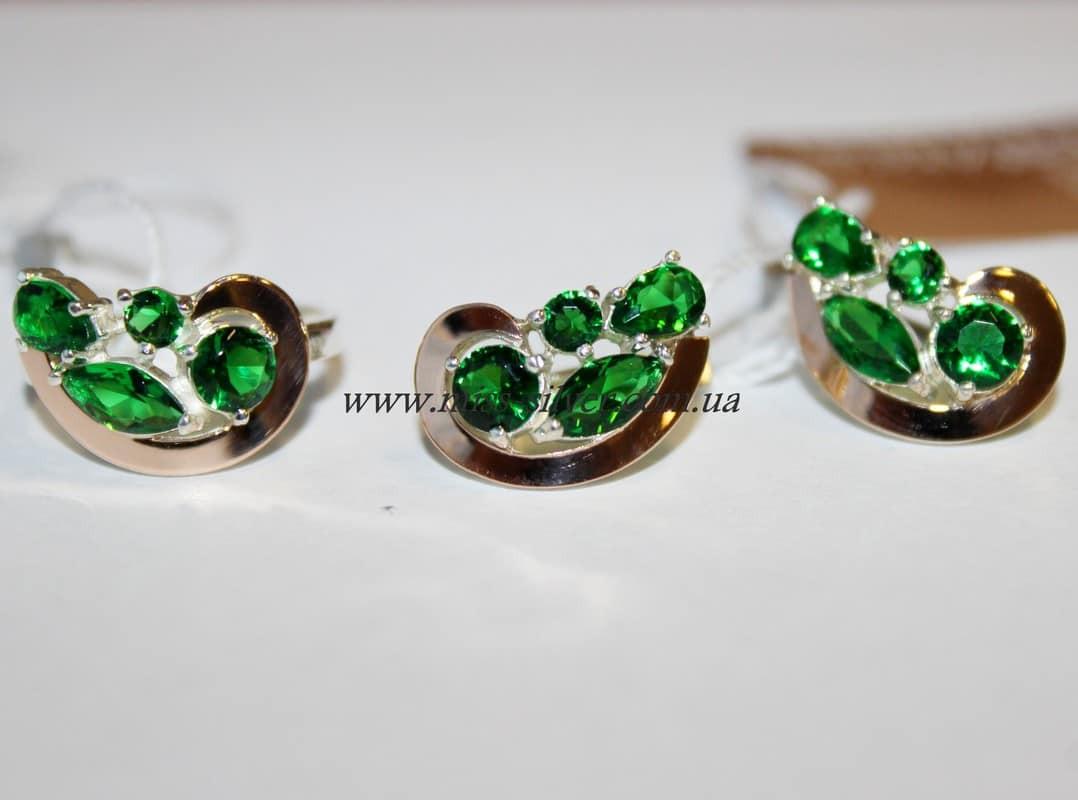 Комплект серебряный с зелеными камнями и золотом Росава
