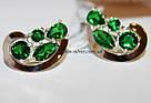 Комплект серебряный с зелеными камнями и золотом Росава, фото 2