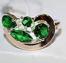 Комплект серебряный с зелеными камнями и золотом Росава, фото 3