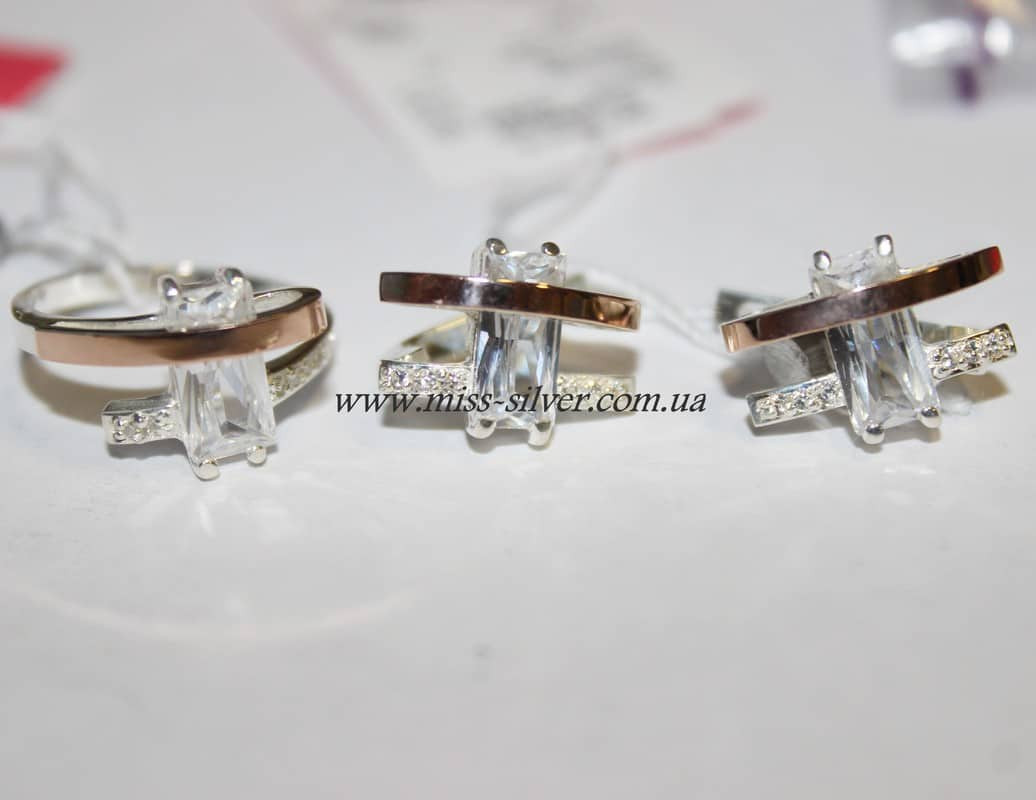 Комплект серебряный с фианитами и золотом Катрин