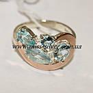 Комплект серебряный с голубыми камнями и золотом Росава, фото 3