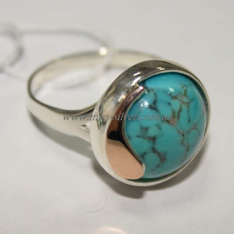 Кольцо серебро с золотом Флора