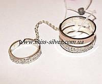 Двойное кольцо с цепочкой Фантази