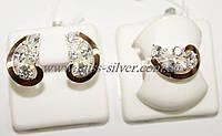 Гарнитур серебро с золотом и белыми цирконами Росава