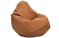 Бежевое кресло-мешок груша 100*75 см из микро-рогожки, кофе с молоком