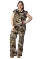 Костюм большого размера (блуза с гипюровыми вставками и широкие брюки)