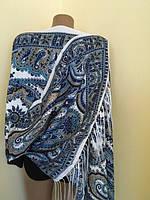 Палантин голубий орнаментом святковий 170*70 см, фото 1