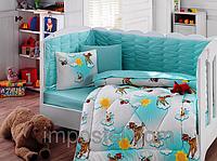Детский комплект постельного белья с бортиками для новорожденных, ранфорс,Cotton Box Bambis, Турция