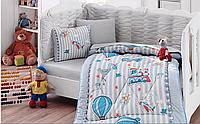Детский комплект постельного белья с бортиками для новорожденных, ранфорс, Cotton Box Gezgin, Турция