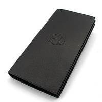 Кошелек-купюрник мужской кожаный черный 1062a
